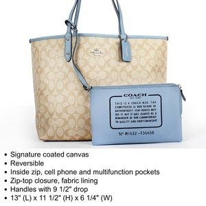Coach Reversible City Tote Handbag Cornflower
